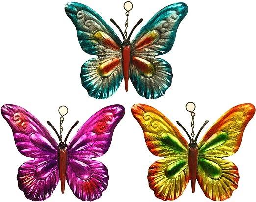 Lote de 3 mariposas de metal para colgar decoraciones de jardín Spinning Funda para metal metálico Mariposas: Amazon.es: Jardín