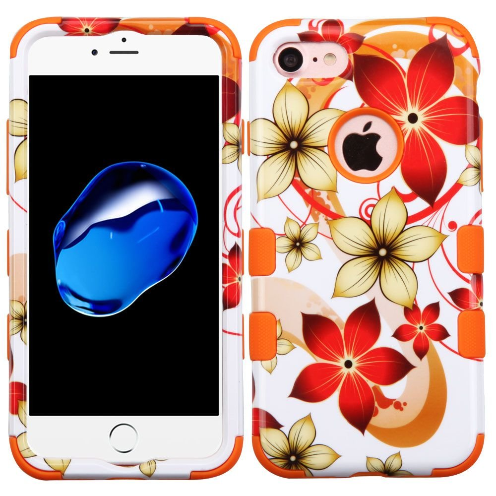 MyBat Cell Phone Case for iPhone 7 - Hibiscus Flower Romance/Orange