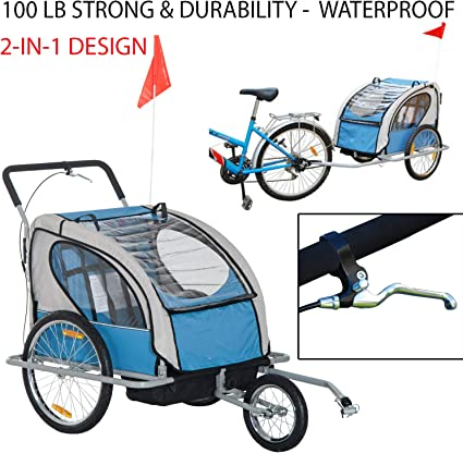 2-Child Bike Trailer Deluxe Folding Pull Cart Lightweight Outdoor Ride Durable