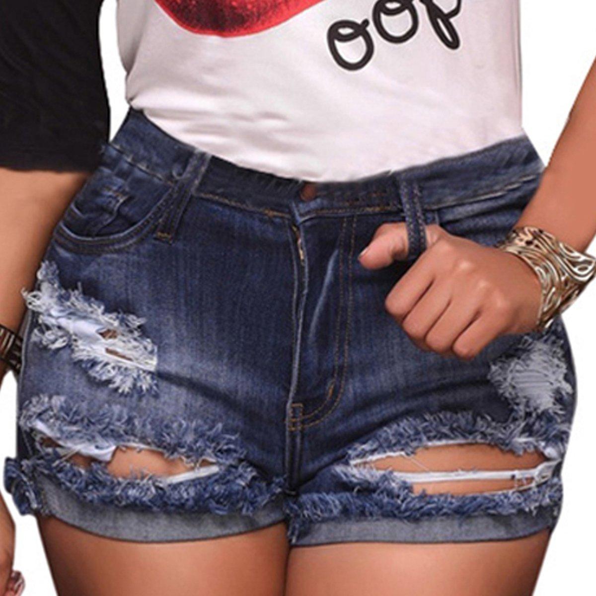 vanberfia Women's High Waist Denim Jean Raw Hem Ripped Shorts with Pockets (JS2018211, L)