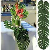 AerWo 48pcs Large Artificial Tropical Palm Leaves, 13.8 by 11.4inch, Hawaiian Luau Party Jungle Beach Theme Decorations for Table Decoration Accessories