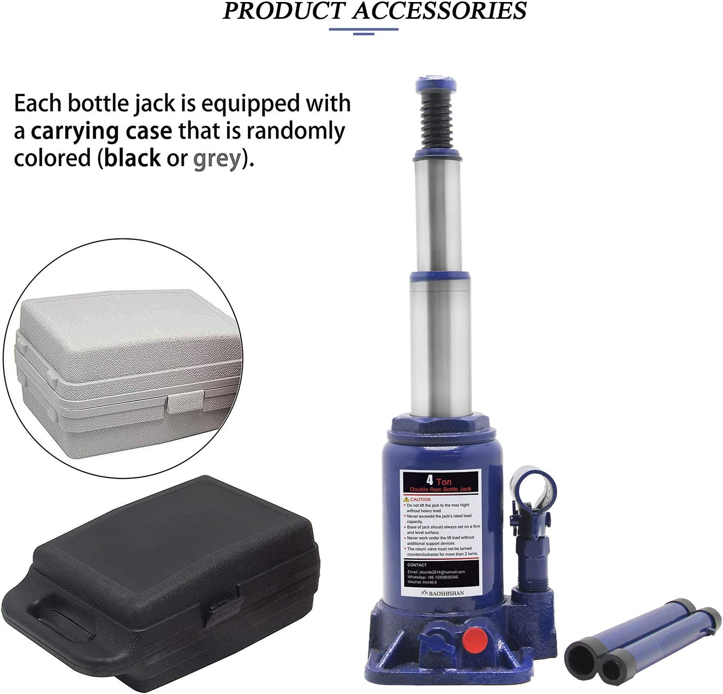 Total Height 15.69in BAOSHISHAN 4 Ton Double Ram Bottle Jack Portable Hydraulic Car/Jack with Carrying Case
