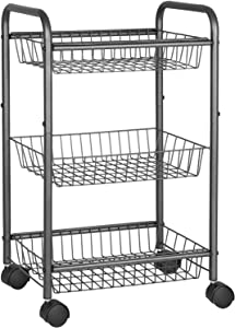 SONGMICS 3-Tier Metal Rolling Cart on Wheels with Baskets, Lockable Utility Trolley with Handles for Kitchen Bathroom Closet, Storage with Removable Shelves UBSC03GS