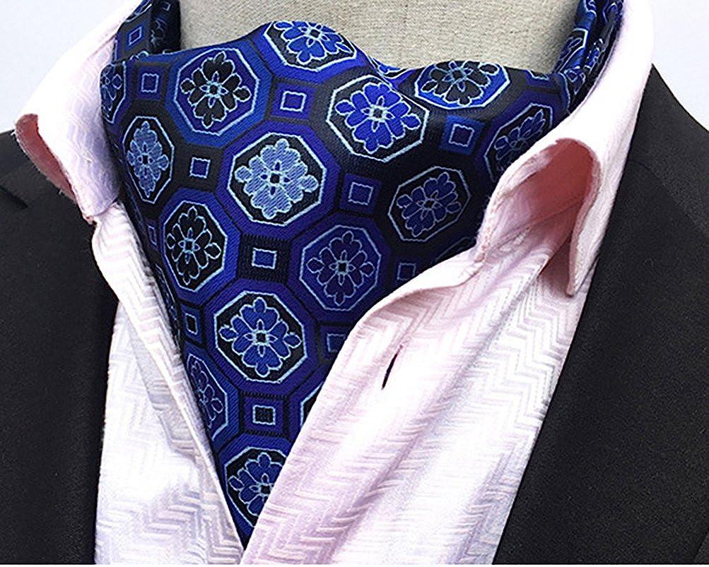 MOHSLEE Mens Luxury Plaid Patterned Classic Cravat Neckties Woven Ascot Gift Tie