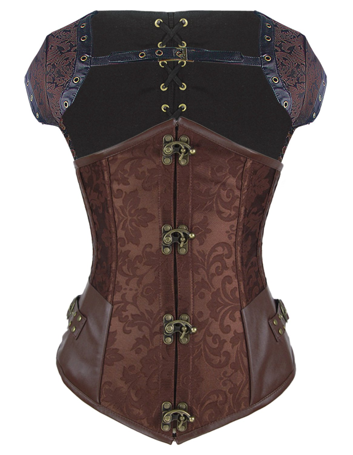 Burvogue Women's Brocade Steampunk Overbust Corset with Jacket 6T-CANT-3SFM