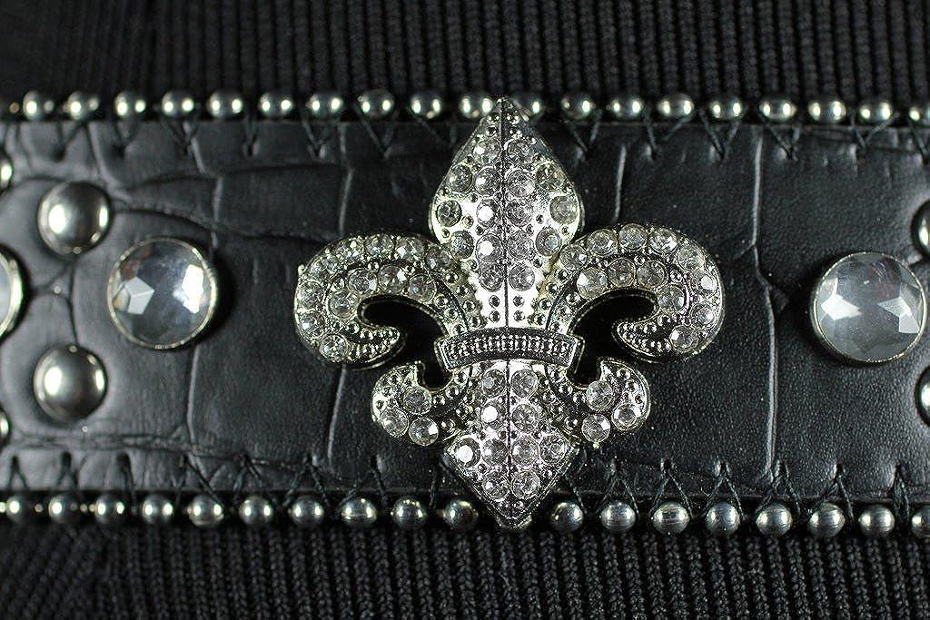 Deal Fashionista BLACK HEART Concho Western Rhinestone Bling Studded Buckle Belt