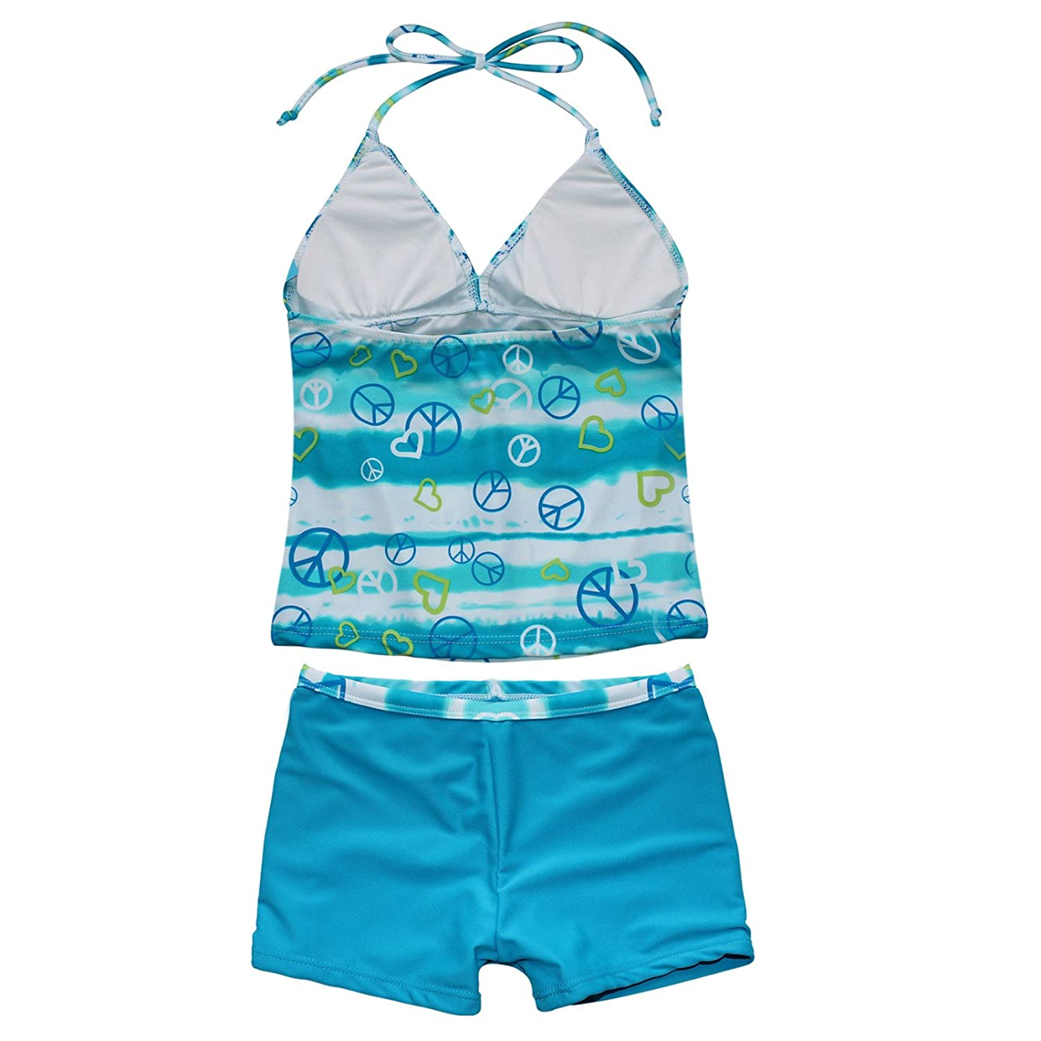 ranrann Girls 2PCS Tankini Halter Neck Front Bowknot Tops with Bottoms Outfits Swimwear Bathing Suit