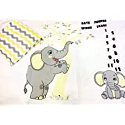 Milestone Blanket in a Set of 2 Muslin Swaddle Blankets, Elephants and Chevrons, Boy or Girl, Ry Ry Bliss