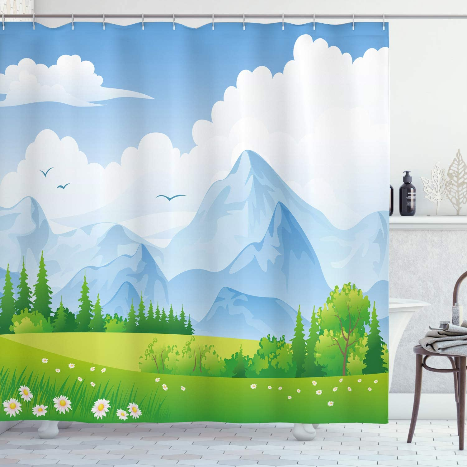 Ambesonne Nature Shower Curtain, Summer Meadow with Daisy Flower Field with Mountain Happy Eco Landscape, Cloth Fabric Bathroom Decor Set with Hooks, 70