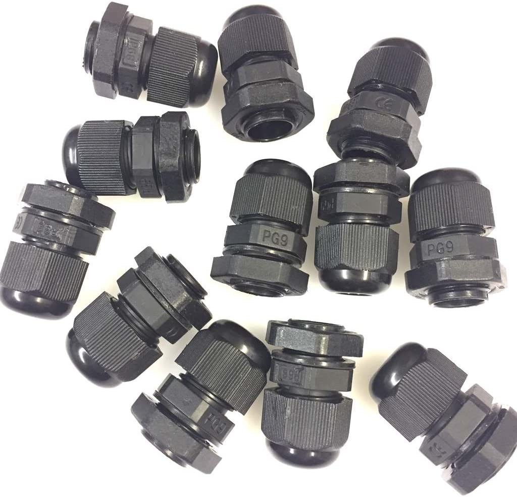 IP68 BLACK CABLE GLAND NYLON WASHER LOCKNUT PG7 PG9 PG11 PG13.5 PG16 PG19 PG21