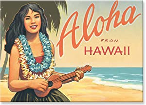 Hawaiian Art Collectible Refrigerator Magnet - Aloha from Hawaii - by Kerne Erickson