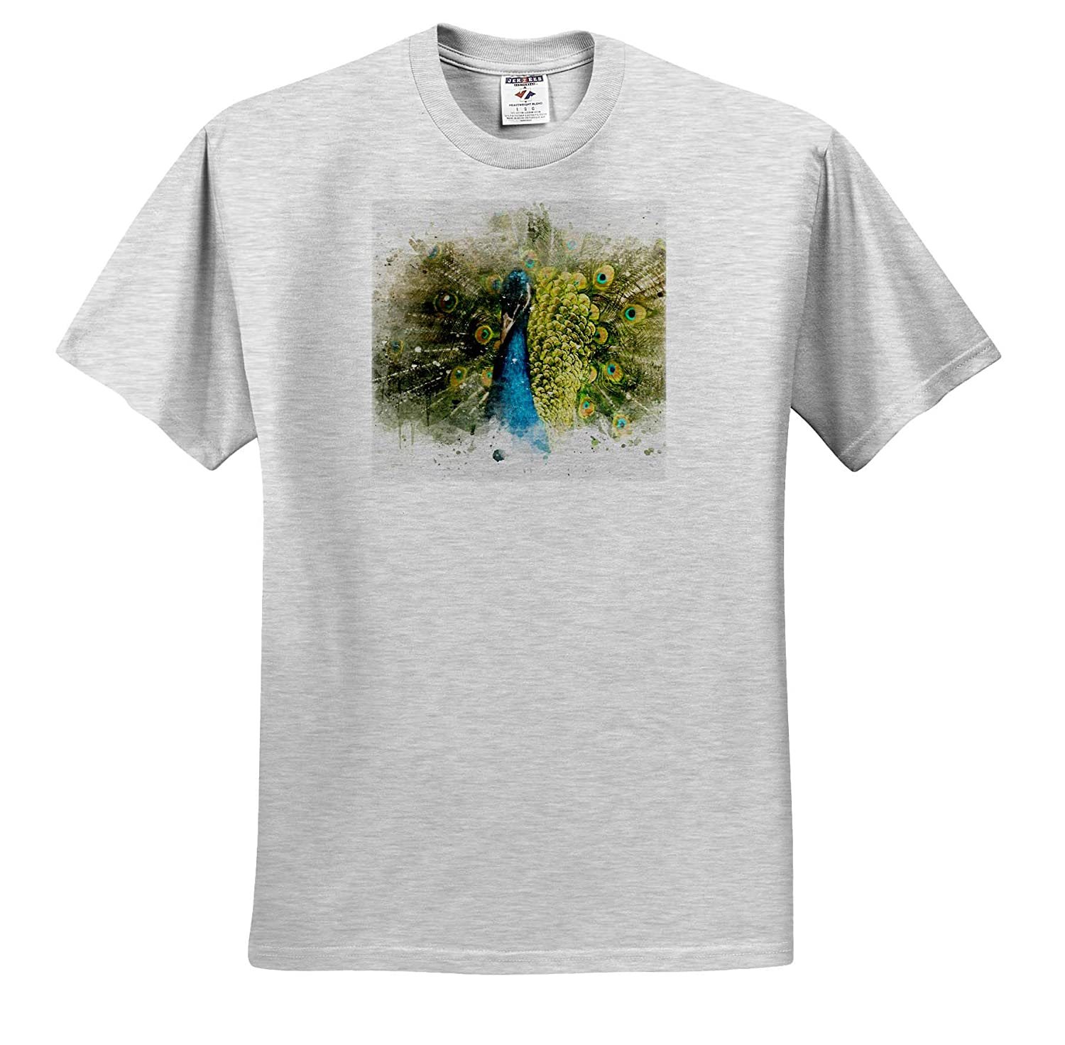 Adult T-Shirt XL Image of Watercolor Peacock Art Impressionist Mixed Media Art 3dRose Anne Marie Baugh ts/_318671