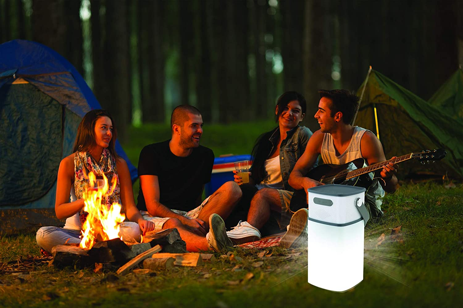 3.5mm Aux Input Weather Resistant Best Bass Bright Lights Sound Logic Camping Hiking Outdoor LED Lantern Wireless Bluetooth Speaker w//Mic Silicone Carrying Handle