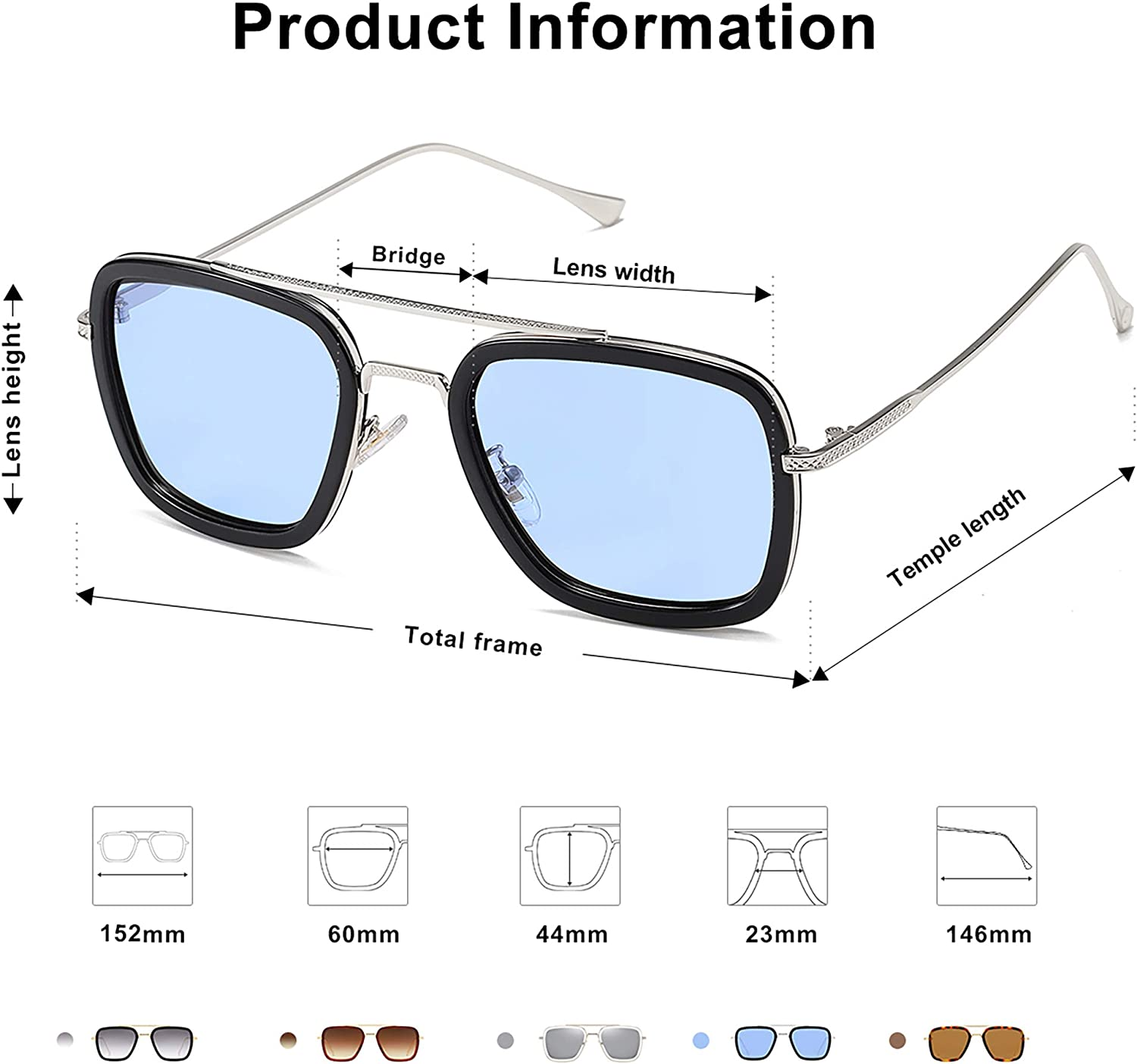 SOJOS Polarized Sunglasses for Men Women Retro Aviator Square Goggle Classic Alloy Frame HERO SJ1126