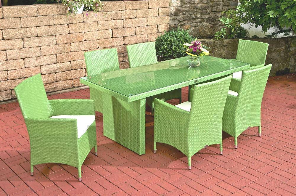 CLP Polyrattan Sitzgruppe AVIGNON 6 Stühle Tisch 180 X