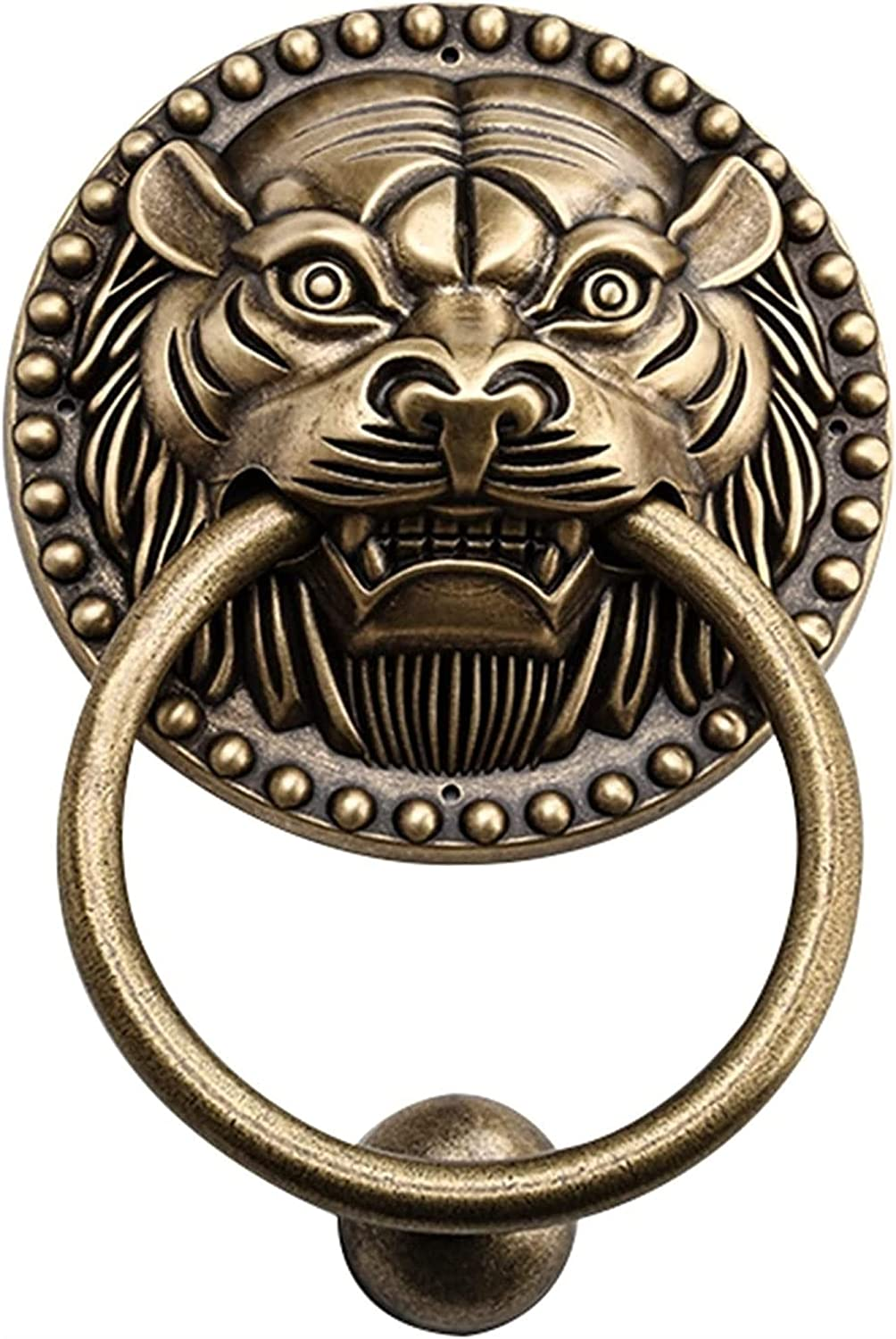 XJZM Classic Tiger Head Pull Ring with an Antique Bronze Finish,Deluxe Wall Decor Vintage Outdoor Door Knockers Gate Handle, for Indoor Furniture Cabinet Dressing Table Artisan Made HOM