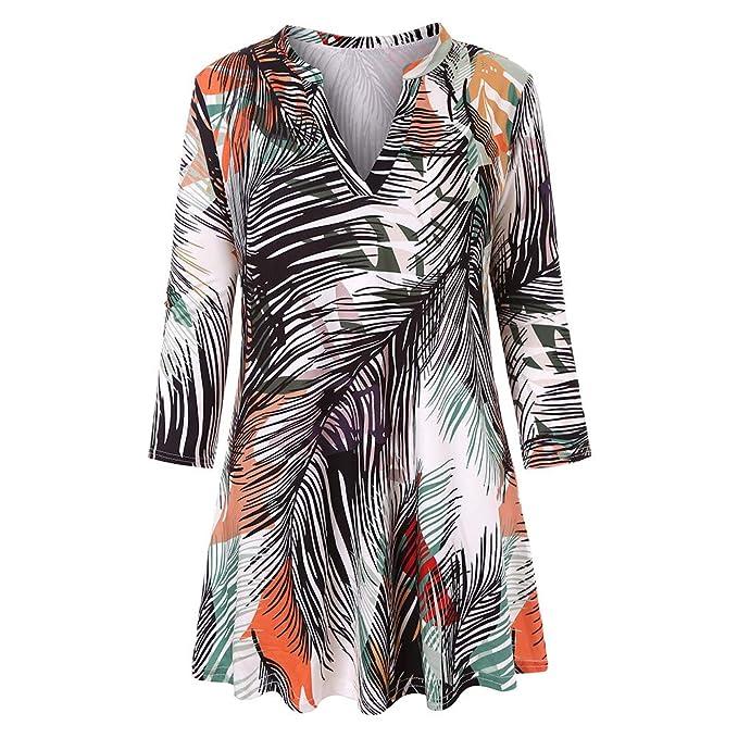 Tops de Las Mujeres, Sueltas Camisas con Cuello en v de Flores Blusa Mangas 3/4 Mujer Túnica de Mujer ❤ Manadlian: Amazon.es: Ropa y accesorios