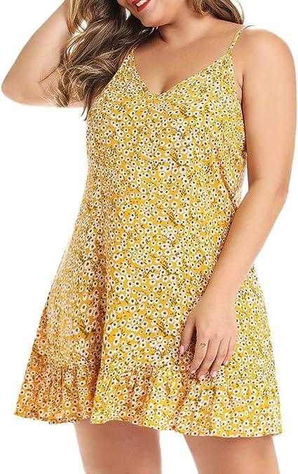 Vestidos de Playa Mujer SUNNSEAN Mini Falda Estampado de Flores ...