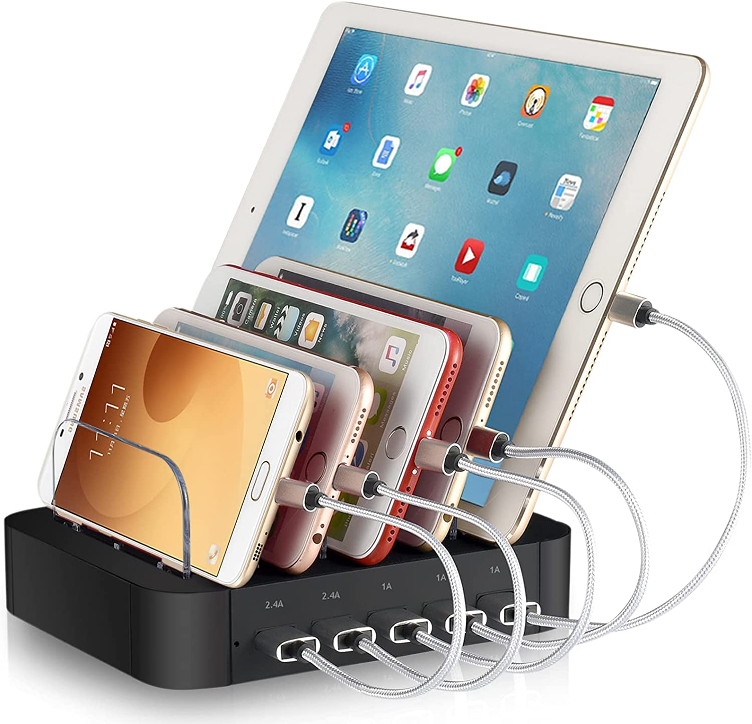 REXIAO 5 Port Multi USB Charger Station Electronic Charging Dock for Multiple Devices, Cell Phone Charger Stand Compatible with iPhone ipad and Other Phones Tablet (5 Short Cable Included