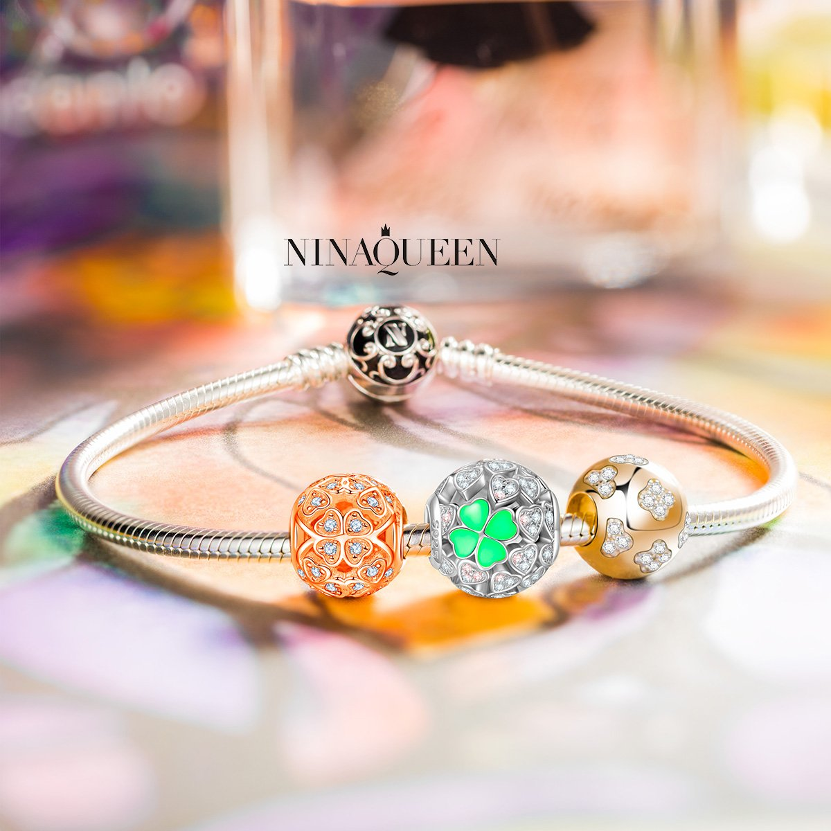 NINAQUEEN Lucky Clover Silver Heart Mint Clovers Openwork Bead Charms for Pandöra Bracelets Necklace Jewelry Making Birthday Anniversary Women Gifts for Her Wife Girlfriend Daughter Teen Girls Kids by NINAQUEEN (Image #4)
