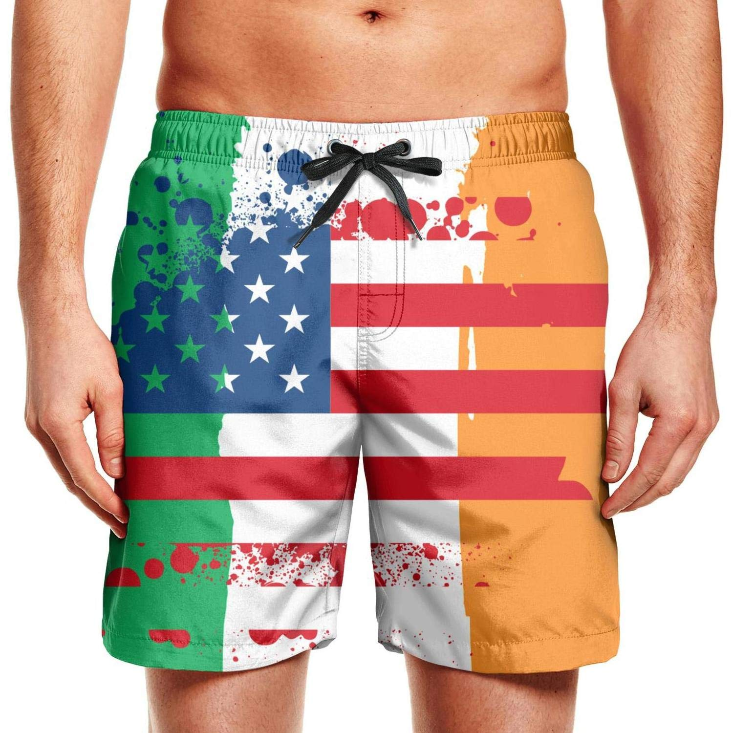LXCOXA Mens Jamaican Flag Stripe Caribbean Island Printing Quick Dry Swim Trunks