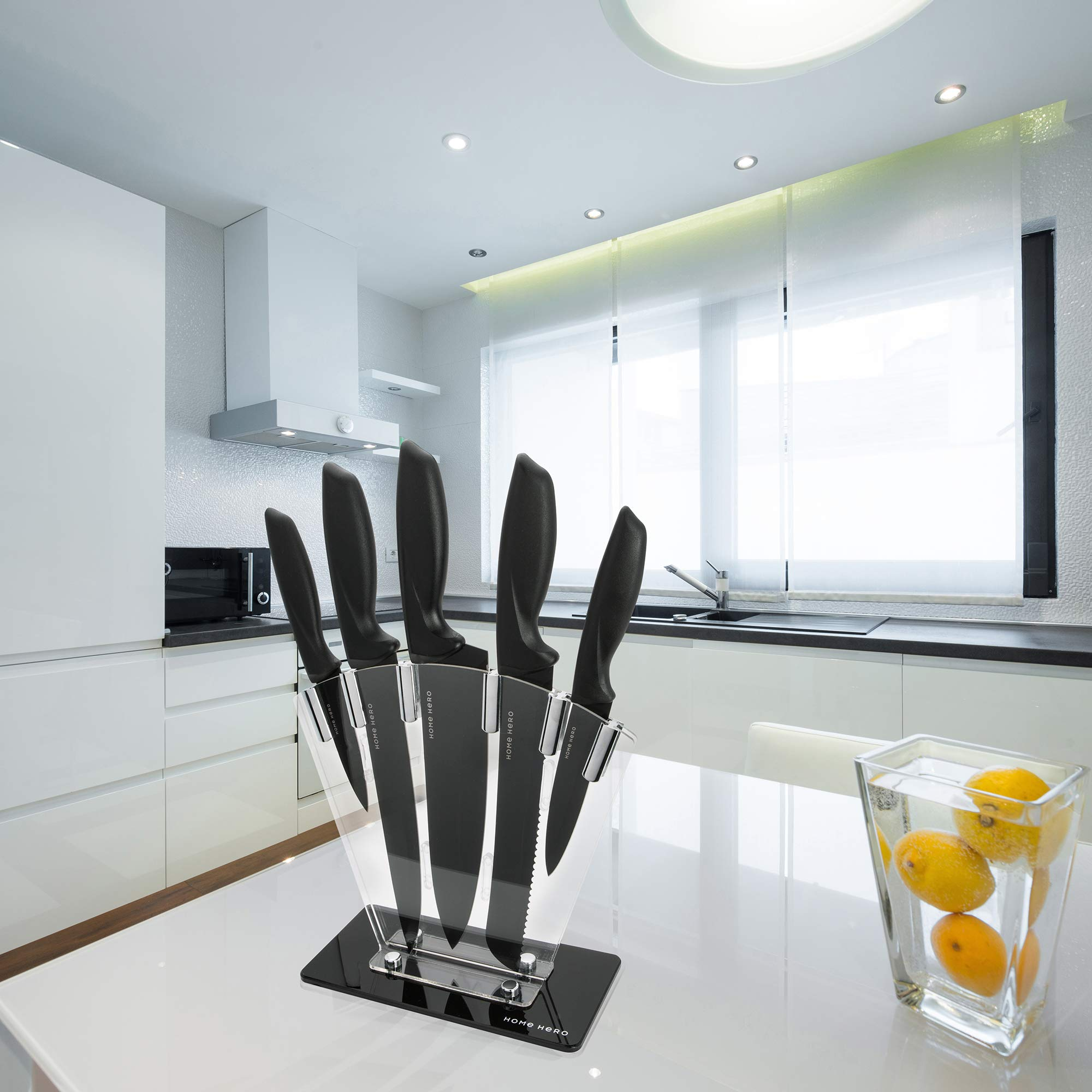Chef Knife Set Knives Kitchen Set - Kitchen Knives Set Kitchen Knife Set with Stand - Plus Professional Knife Sharpener - 7 Piece Stainless Steel Cutlery Knives Set by HomeHero by HomeHero (Image #7)