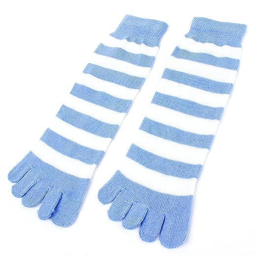 e76898260d606 Amazon.com: Allegra K Ladyankle High Stripes Pattern Five Fingers Feet Toe  Socks Pair Llight Blue White: Clothing