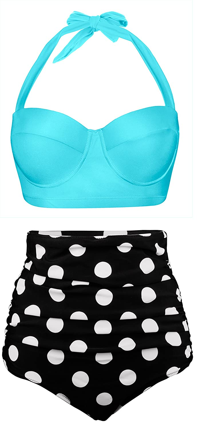 Vintage Bathing Suits | Retro Swimwear | Vintage Swimsuits Angerella Women Vintage Polka Dot High Waisted Bathing Suits Bikini $21.99 AT vintagedancer.com