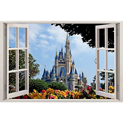 Disney Castle 3D Window Decal Wall Sticker Home Decor Art Mural Kids J168, Huge: Home & Kitchen
