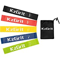 KzGrit Resistance Bands, Exercise Loops Workout Flex Bands for Home Fitness, Strength Training, Stretching, Rehab, Yoga, Physical Therapy and More, Includes Instruction Manual, Carry Bag (Set of 5, 12-inch)
