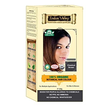 Indus Valley 100 Botanical 100 Organic Chestnut Brown Hair Color For Allergy Sufferers Pregnant Women Lactating Women For Sensitive Skin People
