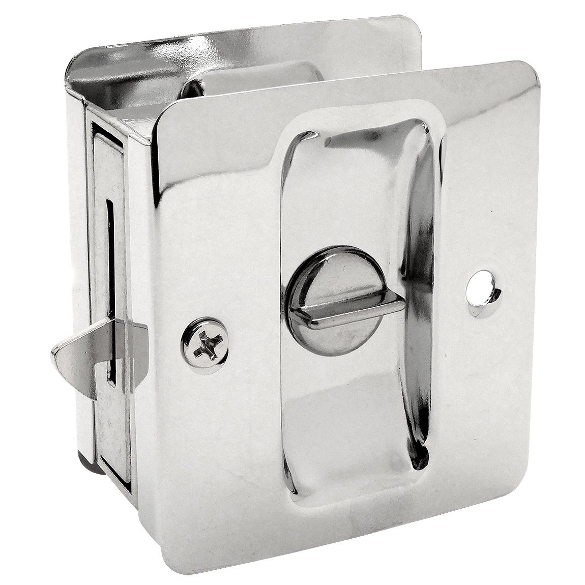Designers Impressions Polished Chrome Pocket Door Privacy Lock : 53867