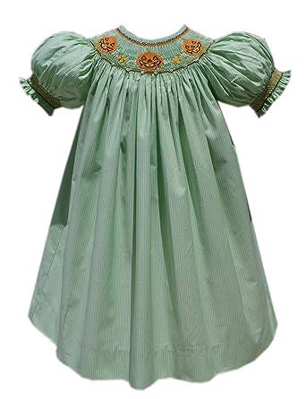 0405c89ee4db Amazon.com: Carouselwear Girls Halloween Jack-O-Lantern Smocked Fall Dress:  Clothing