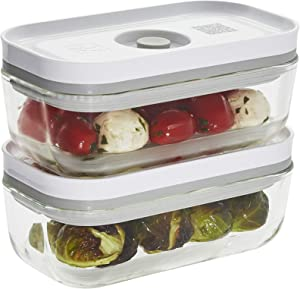 ZWILLING Fresh & Save Vacuum Sealer Glass Airtight Food Storage Containers with lids 2-pc - Small