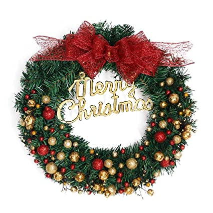 Amazon Com Merry Christmas Wreath Chainsee Diy 16inch Garland Gold
