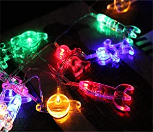 10 LED Children's Room LED String Light Astronaut Spaceship Rocket Pendants Holiday Party Lights Wall Window Nursery or Kids room Decor Wedding Around the Garden Party Patio Christmas (Multicolour)