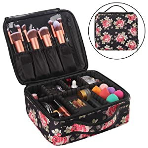Relavel Makeup Travel Bags for Women Makeup Train Case Professional Cosmetic Bag Organizer and Storage Cute Peony Box Makeup Brushes Holder (Peony Pattern)