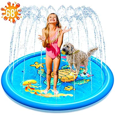 "(68"") Inflatable Splash Sprinkler Pad for Kids Toddlers Dogs, Kiddie Baby Pool, Outdoor Water Mat Toys - Baby Infant Wading Swimming Pool - Fun Backyard Fountain Play Mat for 1 -12 Year Old Girls Boys: Toys & Games"