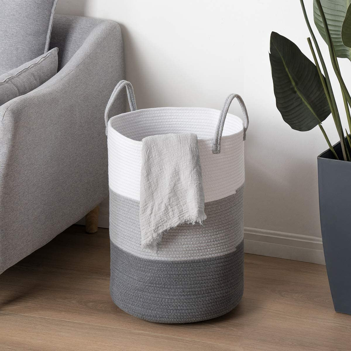 Decorative Woven Bathroom Storage Cube Bins for Clothes Towels Blankets Set of 3 YOUDENOVA Cotton Rope Basket for Organizing Books Toys White