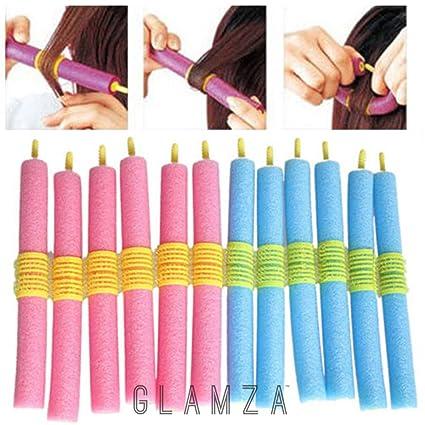 Glamza - Juego de 12 rizadores de pelo mágicos, suaves y flexibles - Rizos sin