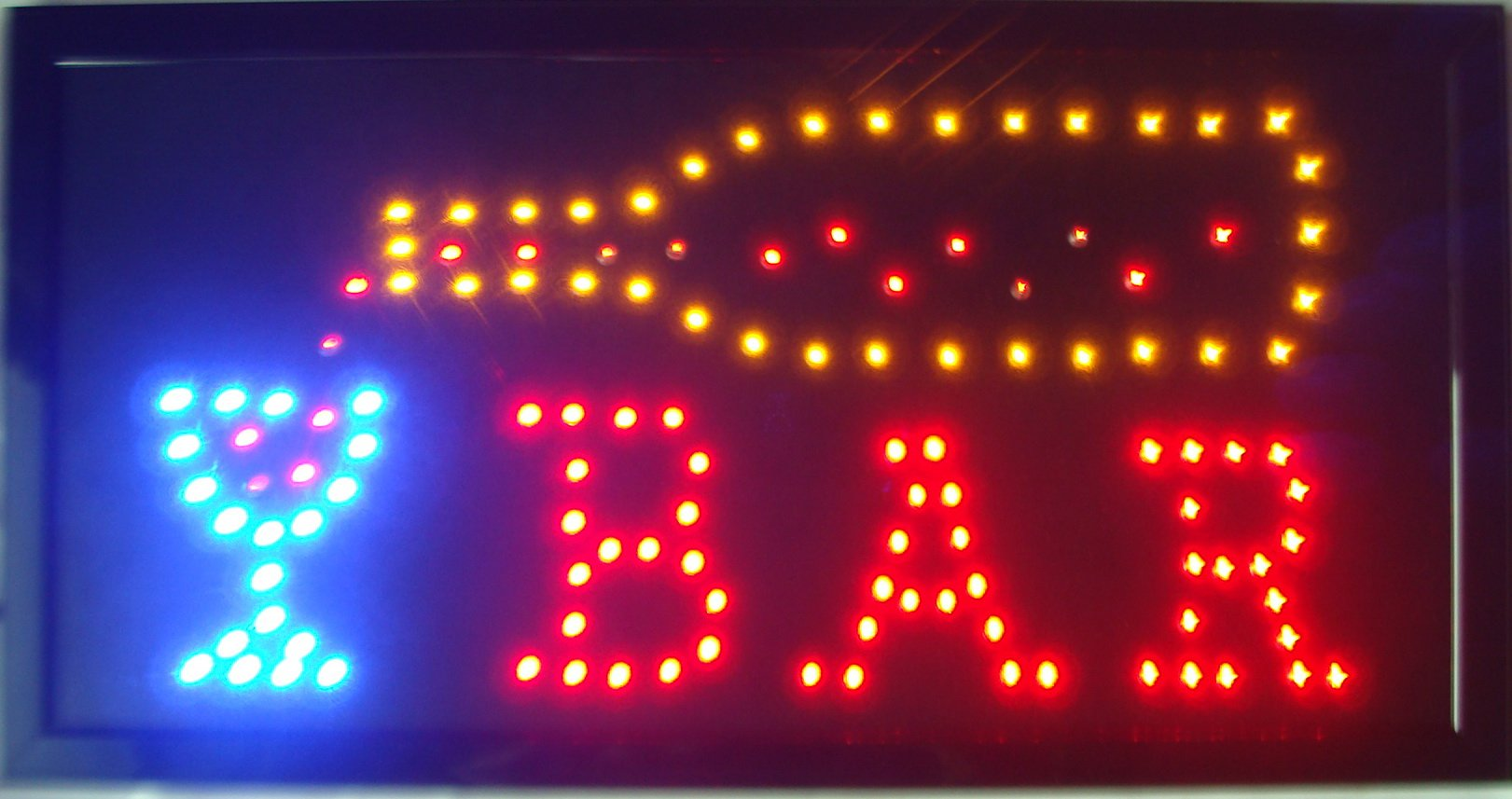 Led Bar Open Shop Sign Hot Sale Customed Low Power 10x19 Inch Semi-outdoor Ultra Bright Running Bar Shop Led Electric Sign