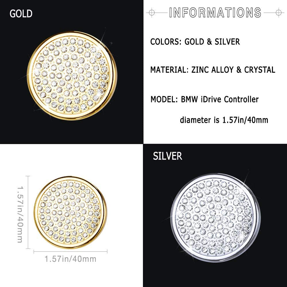 1797 Compatible Handbrake Button Caps for BMW Accessories Parts Parking Covers Decal Bling Interior Decorations 5 6 7 Series X3 X4 G30 G31 F13 G11 G12 G01 F26 F90 xDrive AWD Women Men Crystal Silver