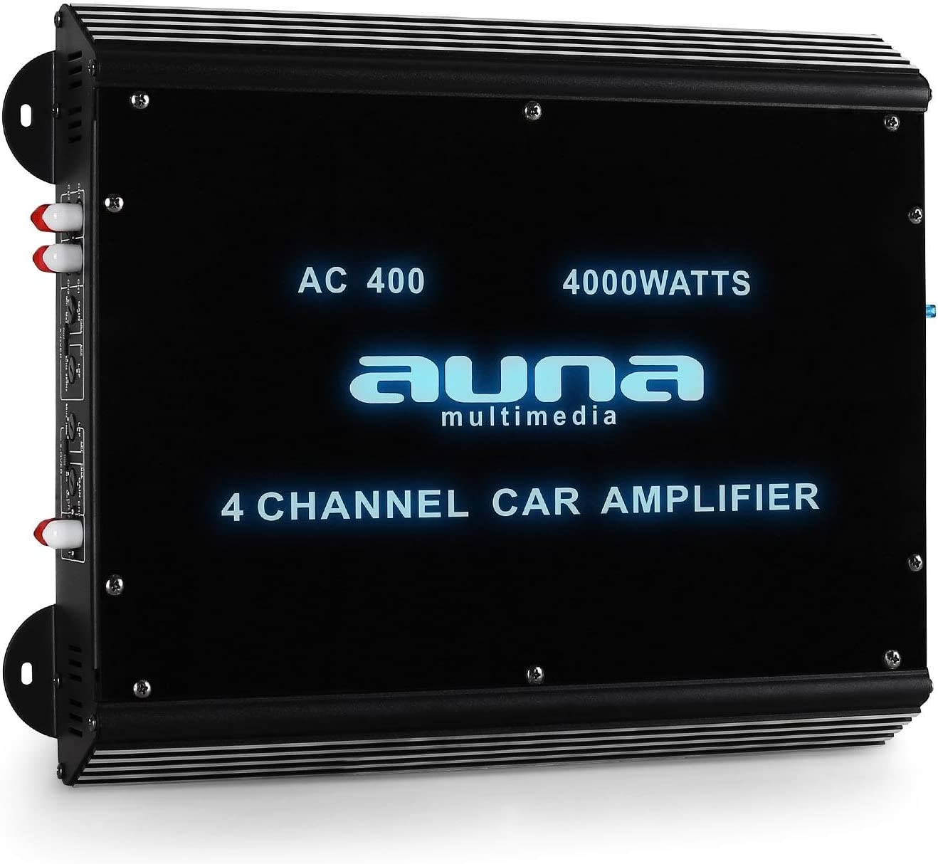 Black//Silver 800W, 1 x Amplifier, 2 x Installation Speakers, 1 x Enclosed Subwoofer, 1 x Cable Set, Built-In Light Effect AUNA FX211 Car HiFi Speaker Amplifier Set