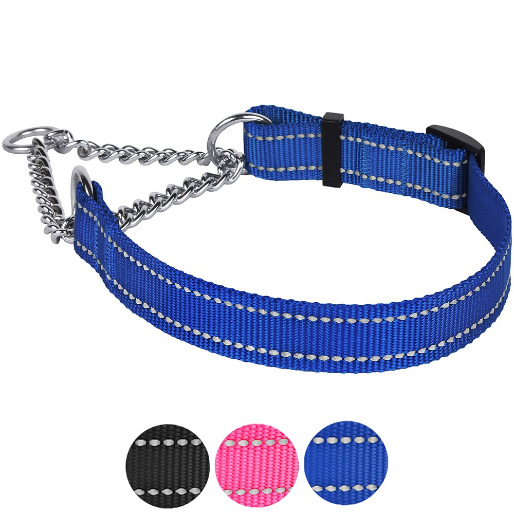 bluee S, Neck Fit 12\ bluee S, Neck Fit 12\ CollarDirect Martingale Dog Collar Training Adjustable Stainless Steel Chain Reflective Nylon Pet Choke Collars for Medium Large Dogs (S, Neck Fit 12 -18 , bluee)