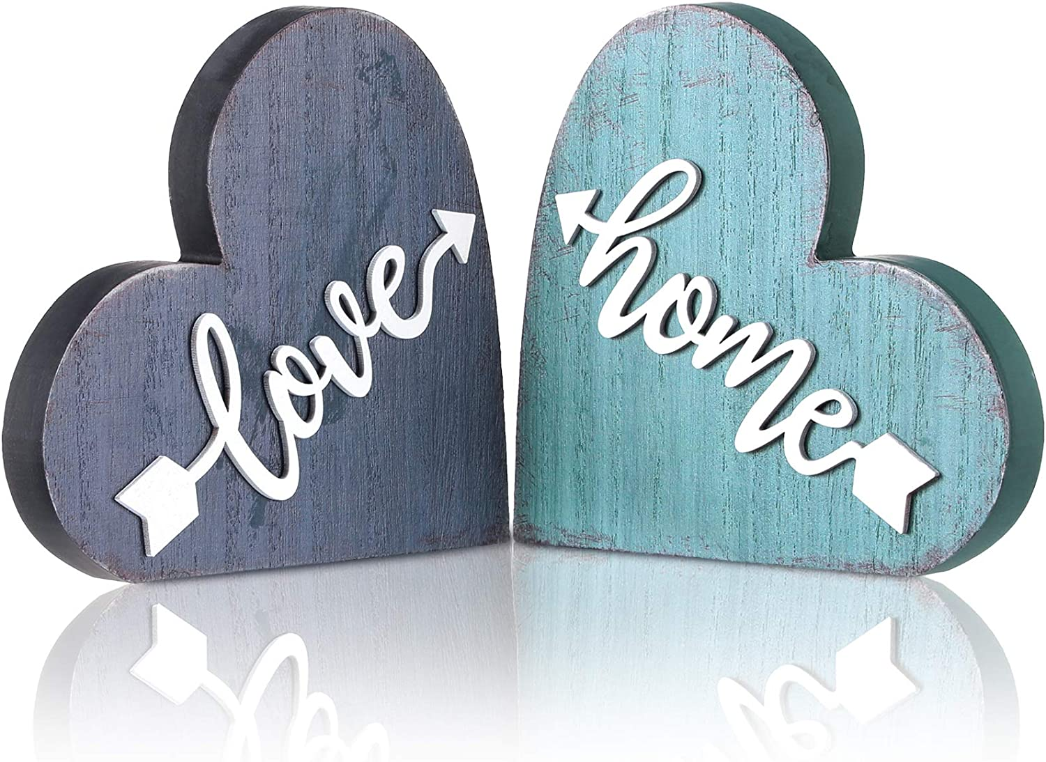 Jetec 2 Pieces Wood Home Sign Heart Wooden Signs Rustic Wood Love Sign Decorative Love Heart Wooden Sign for Holiday Home Table Fireplace Mantel Decor