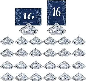 Diamond Table Card Holder 4 PCS Fuchsia ca 4x2 cm Acrylic Table Cards Place Card