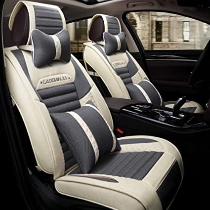 Full Surrouded Flax Seat Cover Cushion Protector All Season for 5-seats Auto Car