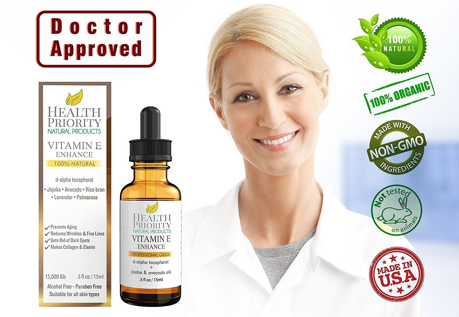 100% All Natural & Organic Vitamin E Oil For Your Face & Skin - 15,000/30,000 IU - Reduces Wrinkles, Lightens Dark Spots, Heals Stretch Marks & Surgical Scars. Best Treatment for Hair, Nails, Lips by Health Priority Natural Products (Image #9)