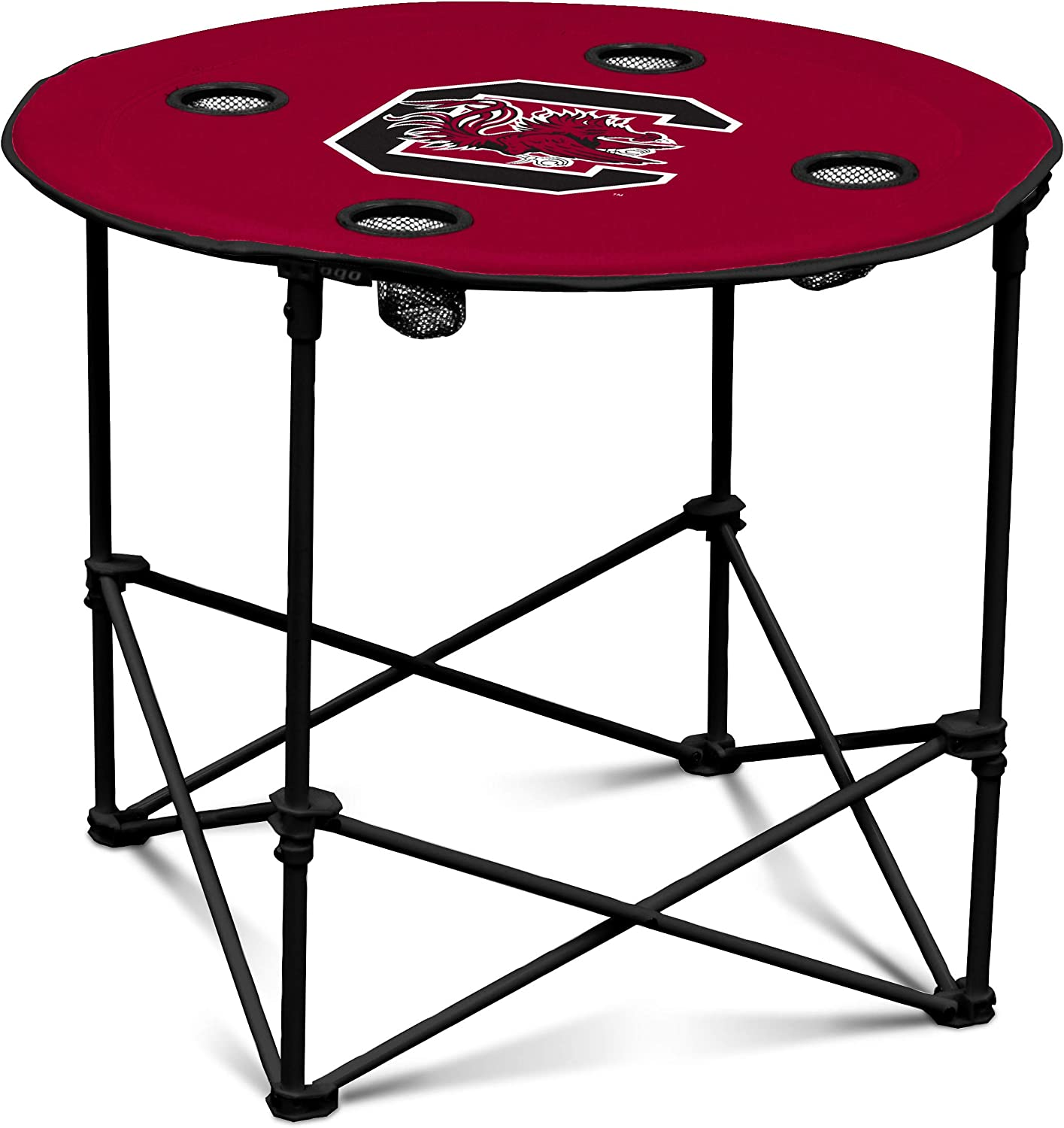 South Carolina Gamecocks Collapsible Round Table with 4 Cup Holders and Carry Bag