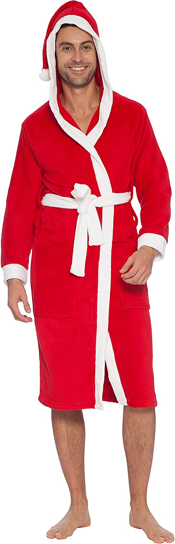INTIMO Mens Hooded Family Pajama Santa Robe